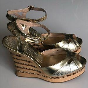 Brand new gold platform sandals